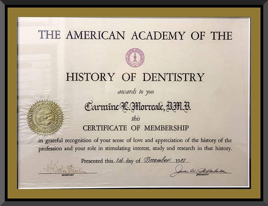 BCOH_Certification_American_History_of_Dentistry_Certificate_IMG_1925s